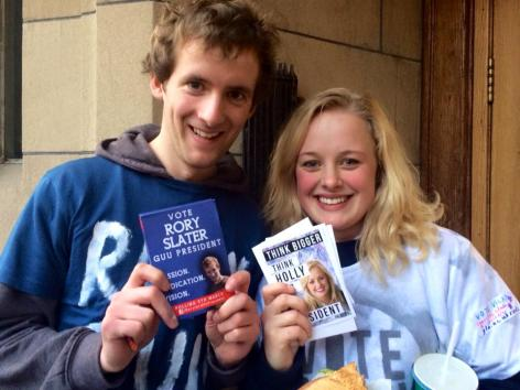 Rory Slater and Holly Fergusson: presidential candidates on election day at GUU